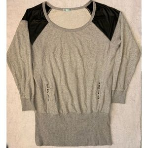 Maurices Womens Sweatshirt Sz XL Gray Faux Leather